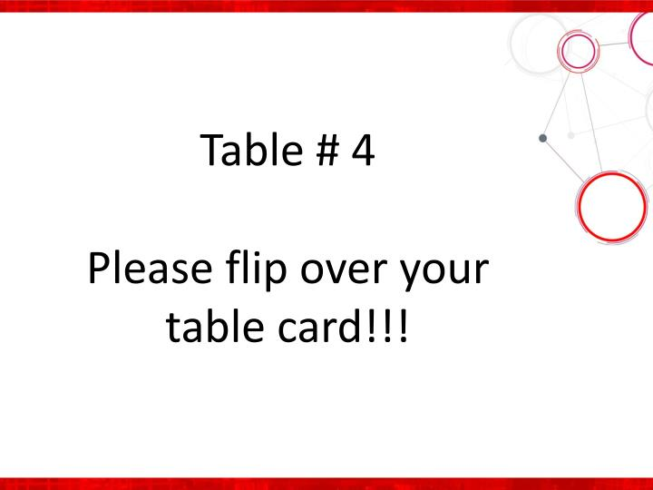 Table # 4