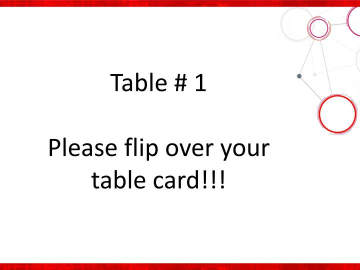 Table # 1