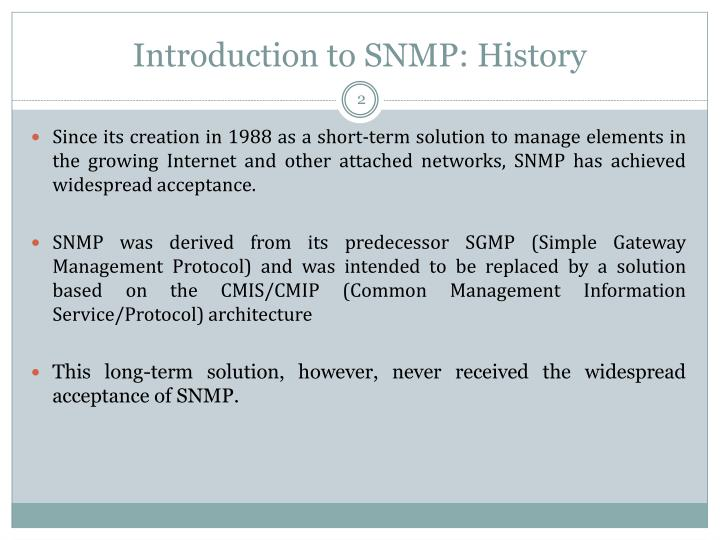 Introduction to SNMP: History