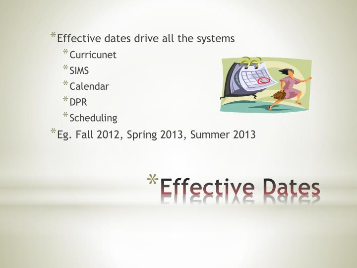 Effective dates drive all the systems