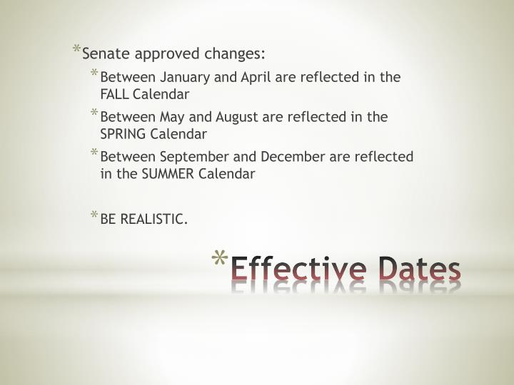 Senate approved changes: