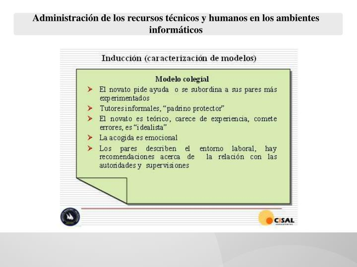 Administración de los recursos técnicos y humanos en los ambientes informáticos