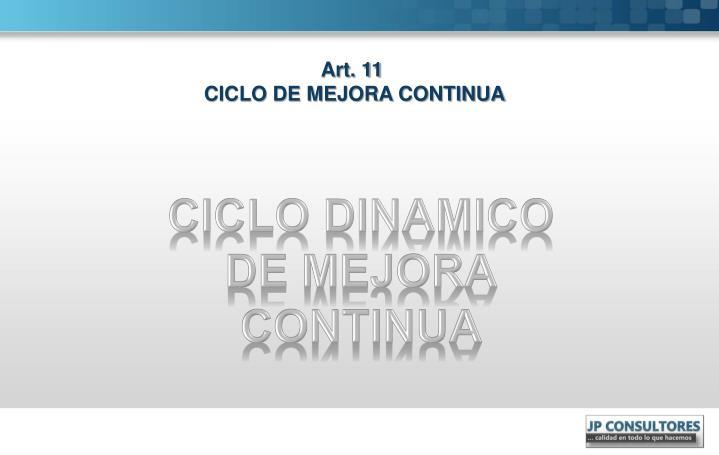 Art.11  CICLO DE MEJORA CONTINUA