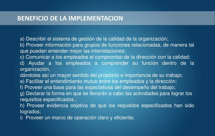 BENEFICIO DE LA IMPLEMENTACION