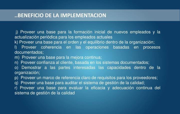 ..BENEFICIO DE LA IMPLEMENTACION