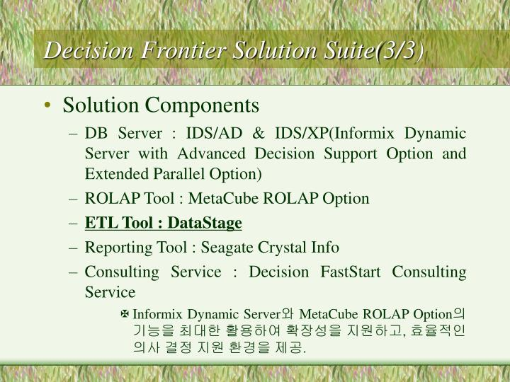 Decision Frontier Solution Suite(3/3)