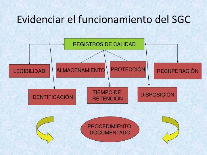 Evidenciar el funcionamiento del SGC
