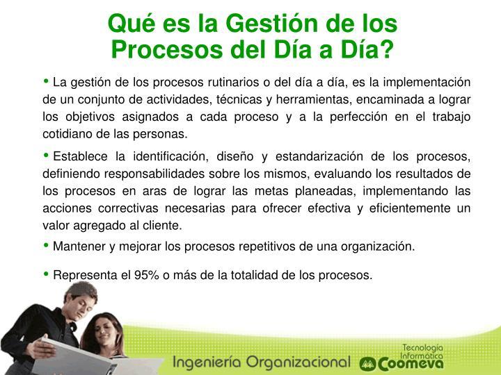 Qué es la Gestión de los Procesos del Día a Día?