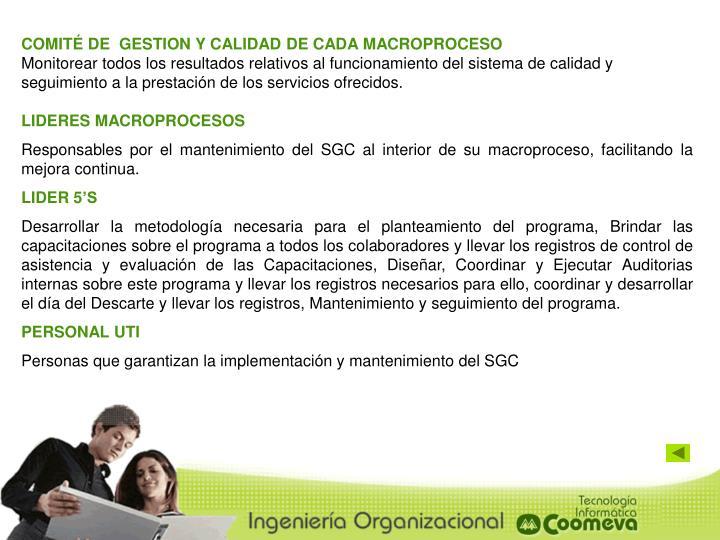 COMITÉ DE  GESTION Y CALIDAD DE CADA MACROPROCESO