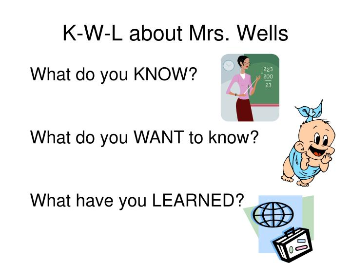 K w l about mrs wells