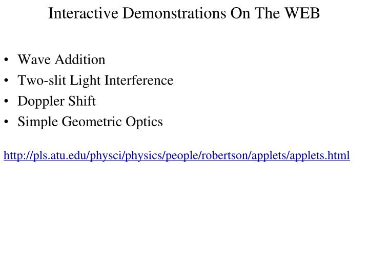 Interactive Demonstrations On The WEB