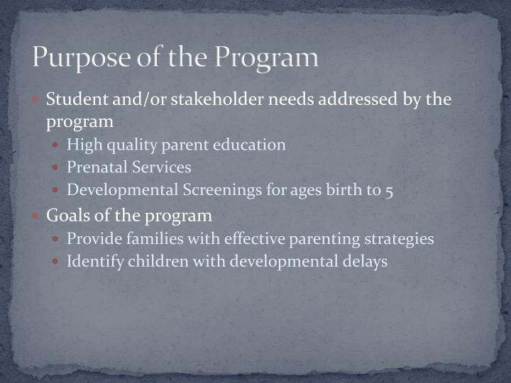 Purpose of the Program