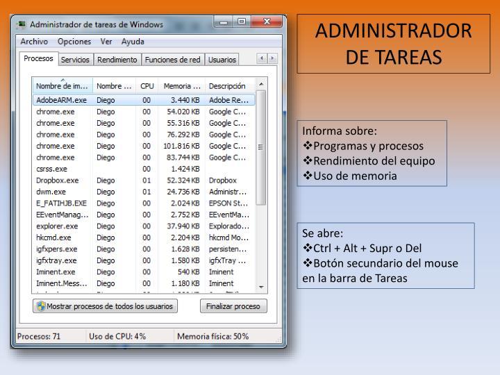 ADMINISTRADOR DE TAREAS