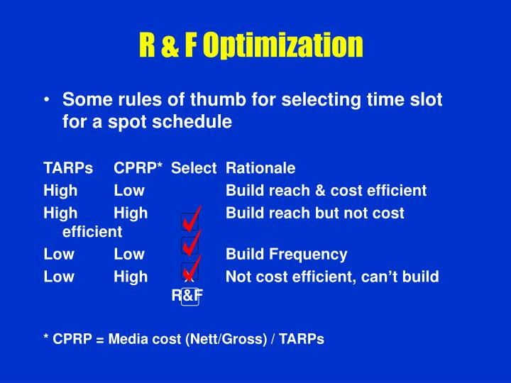 R & F Optimization