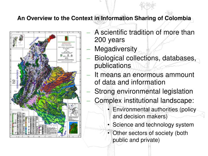 An Overview to the Context in Information Sharing of Colombia