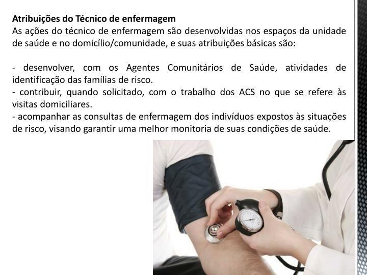 Atribuies do Tcnico de enfermagem