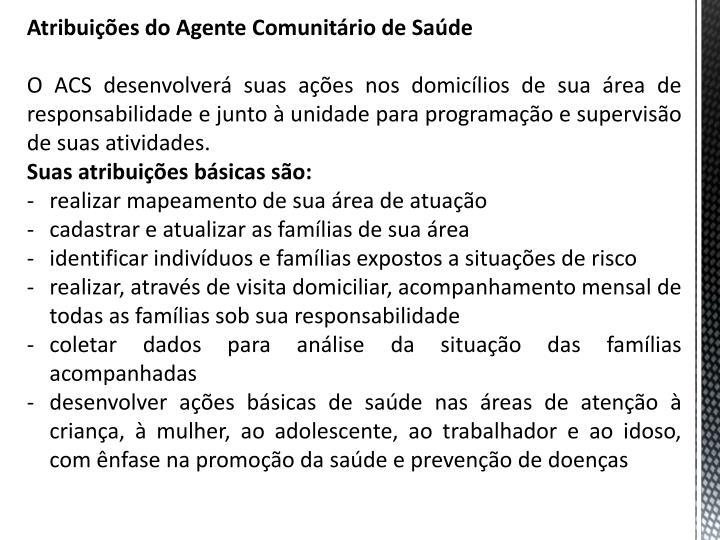 Atribuies do Agente Comunitrio de Sade