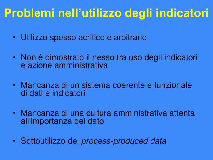 Problemi nell'utilizzo degli indicatori