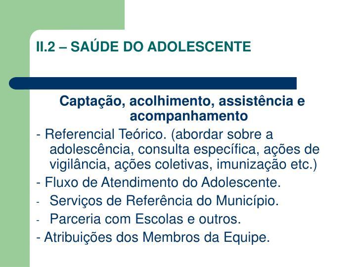 II.2 – SAÚDE DO ADOLESCENTE