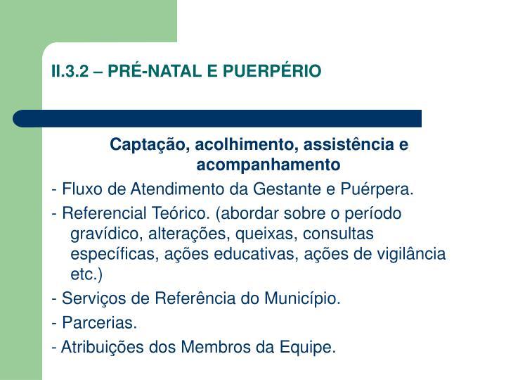 II.3.2 – PRÉ-NATAL E PUERPÉRIO