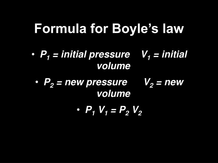 Formula for Boyle's law