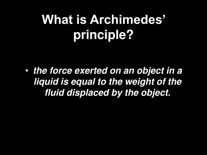 What is Archimedes' principle?