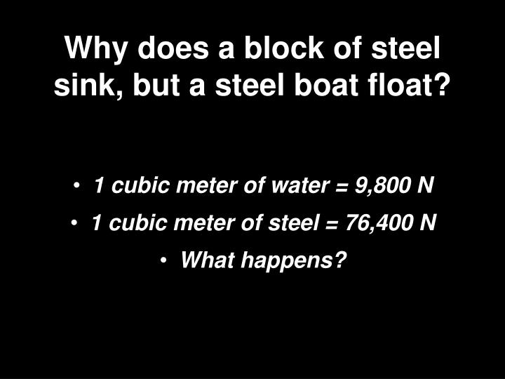 Why does a block of steel sink, but a steel boat float?