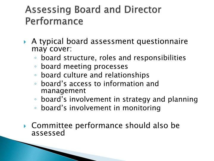 Assessing Board and Director Performance