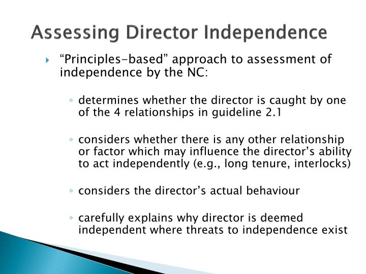 Assessing Director Independence