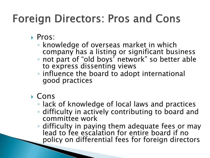 Foreign Directors: Pros and Cons