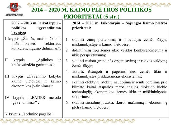 2014 – 2020 M. KAIMO PLĖTROS POLITIKOS PRIORITETAI (5 str.)
