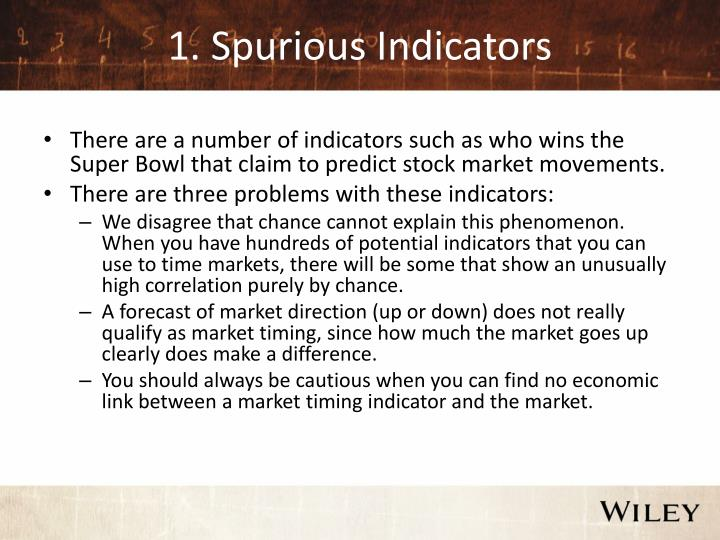 1 spurious indicators