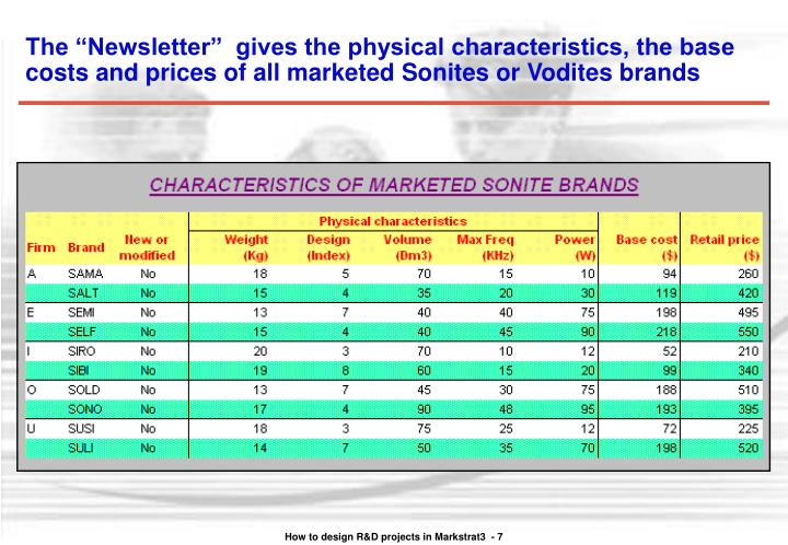 "The ""Newsletter""  gives the physical characteristics, the base costs and prices of all marketed Sonites or Vodites brands"