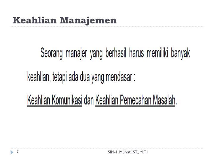 Keahlian Manajemen