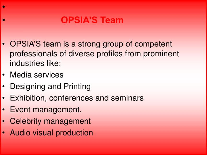 OPSIA'S Team
