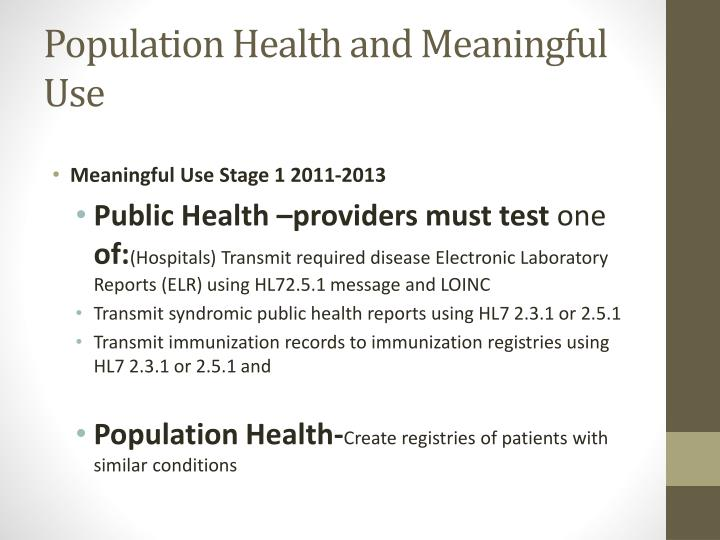 Population Health and Meaningful Use
