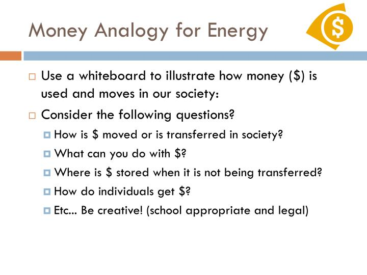 Money Analogy for Energy