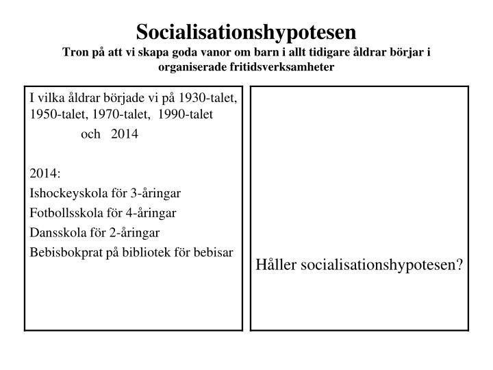 Socialisationshypotesen