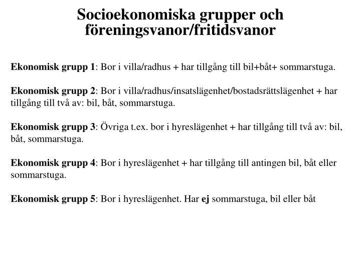 Socioekonomiska grupper och föreningsvanor/fritidsvanor