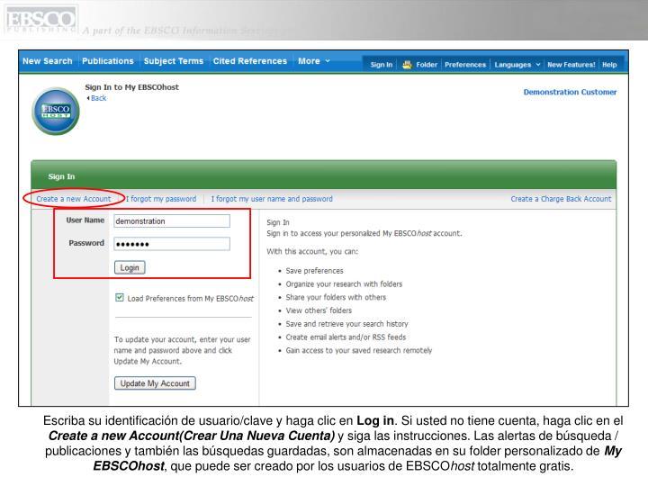 Escriba su identificación de usuario/clave y haga clic en
