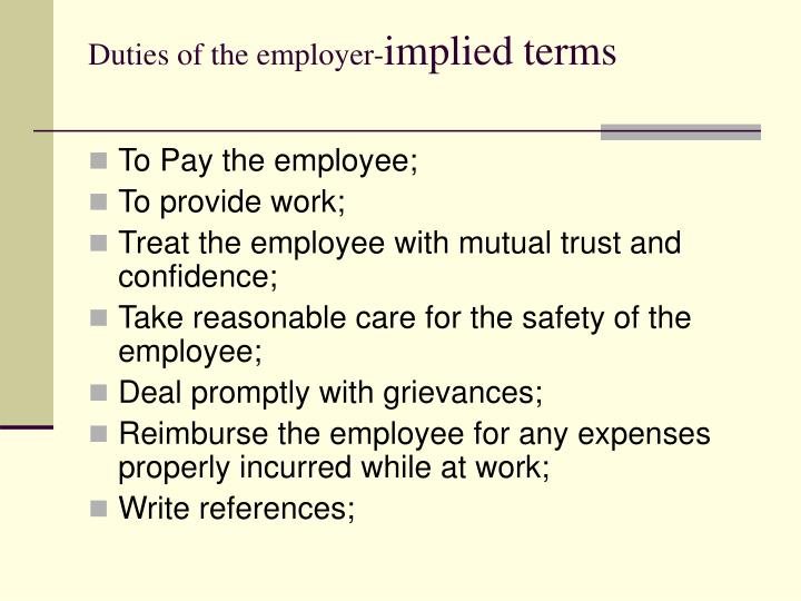 Duties of the employer-