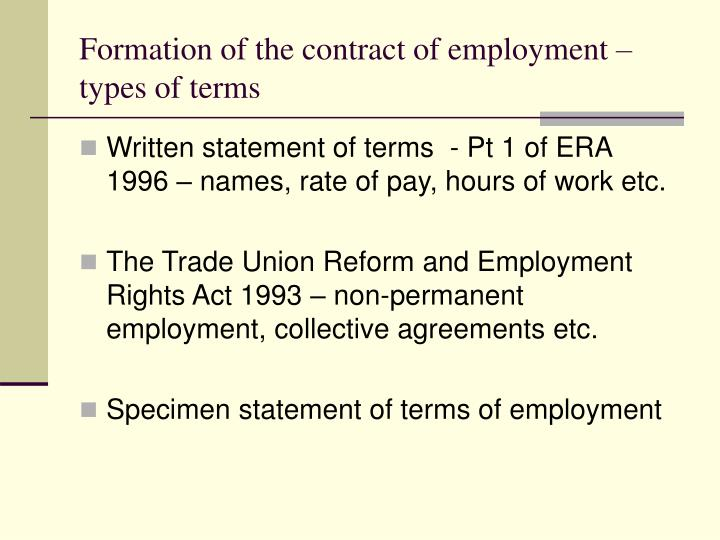 Formation of the contract of employment – types of terms