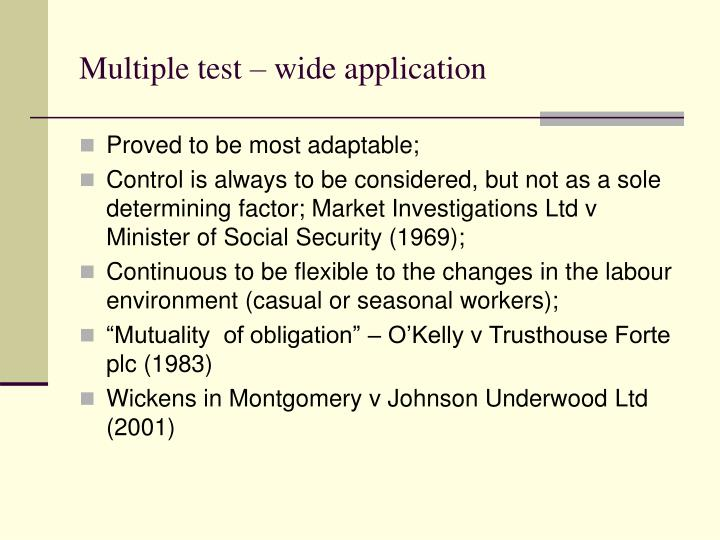 Multiple test – wide application