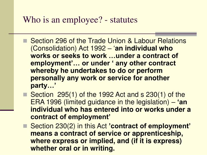 Who is an employee? - statutes