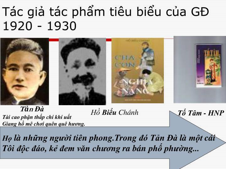Tác giả tác phẩm tiêu biểu của GĐ 1920 - 1930