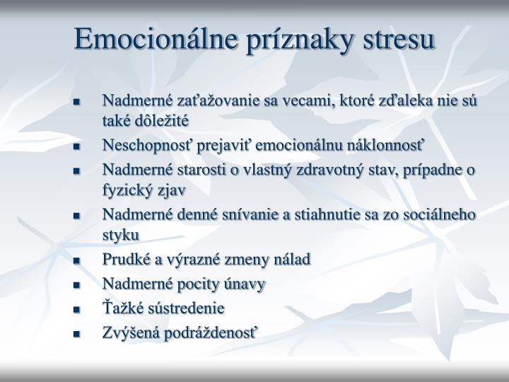 Emocionálne príznaky stresu