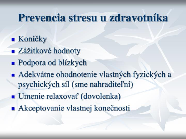 Prevencia stresu u zdravotníka
