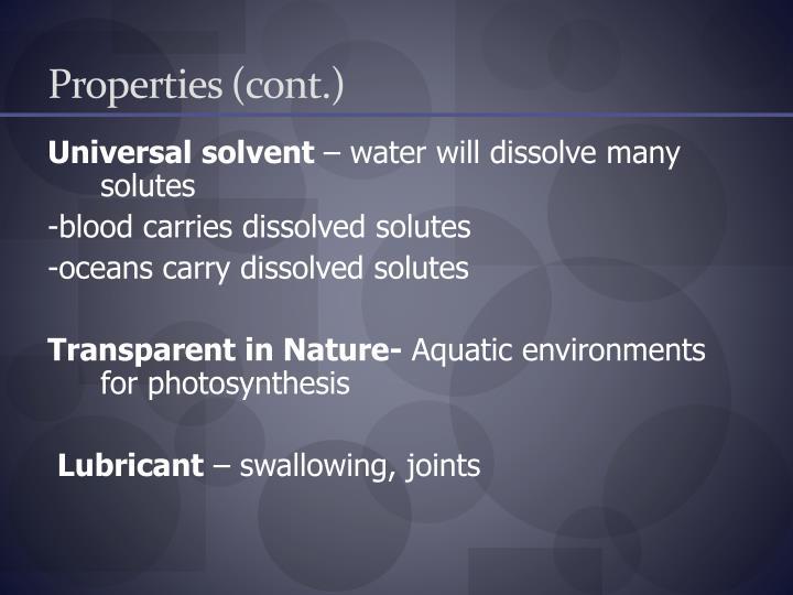 Properties (cont.)