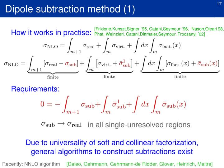 Dipole subtraction method (1)