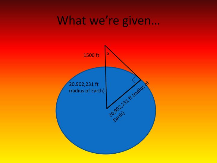 What we're given…